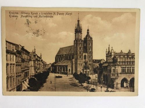 Karta pocztowa Kraków. Główny Rynek z kościołem N. Panny Maryi - Krakau. Hauptring und Marienkirche, wyd. J. K. Kraków 1914,
