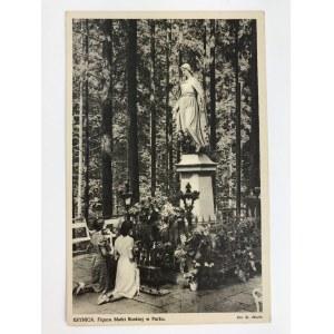 Karta pocztowa Krynica. Figura Matki Boskiej w Parku.