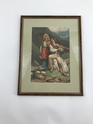 Grafika przedstawiająca Góralkę i Górala w tradycyjnych strojach, piękna oprawa!