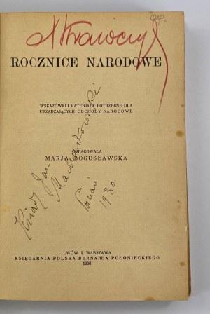 Bogusławska Marja, Rocznice narodowe. Wskazówki i materiały potrzebne dla urządzających obchody narodowe