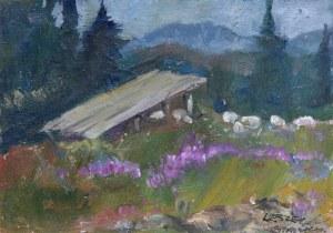 Leszek Stańko (1924 Sosnowiec-2010 Katowice), Pejzaż z chatą i owcami