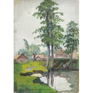 Anna Maślakiewicz-Brzozowska (1912-1986), Domki koło młyna, 1955 r.