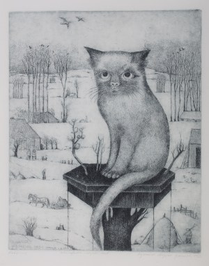 Ryszard Stryjec (1932 Lipniszki k. Lidy-1997 Gdańsk), Kot zimą, 1982 r.