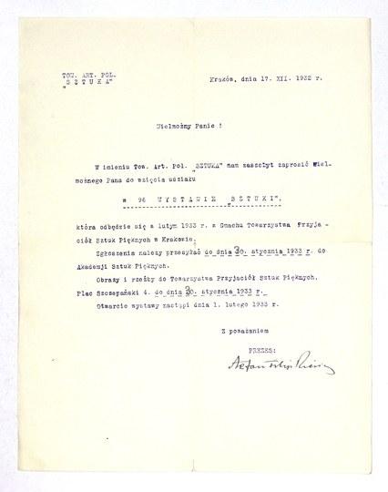 [FILIPKIEWICZStefan]. Odręczny podpis Stefana Filipkiewicza jako prezesa Towarzystwa Artystów Polskich ...