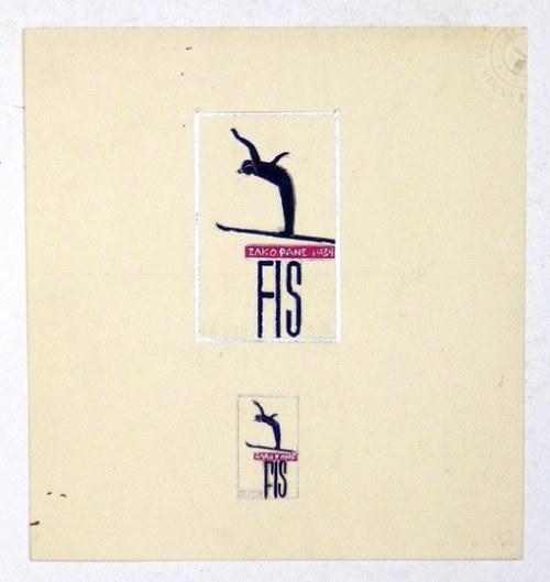 [FIS, Zakopane]. Anonimowy odręczny projekt znaczka dla Mistrzostw Świata w Narciarstwie Klasycznym rozegranych w Zakopa...