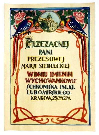 [KRAKÓW]. Ozdobny, ręcznie wykonany dyplom dla Marii Siedleckiej, z widokiem budynku Schroniska im. ks....