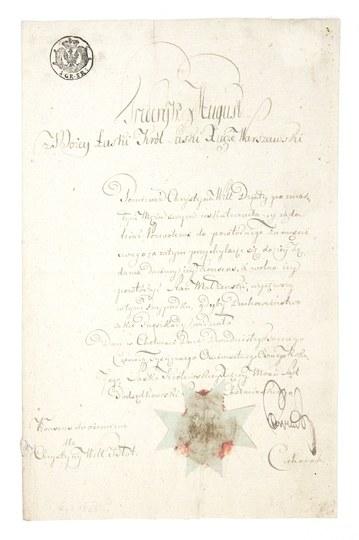 [KSIĘSTWOWarszawskie 2]. Akt prawny wydany w imieniu Fryderyka Augusta, króla saskiego i księcia Księstwa Warszawskiego...