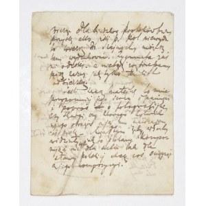 [LENARTOWICZTeofil]. Fragment odręcznego listu Teofila Lenartowicza, bez daty, pisany z Włoch oraz list Tekli Zmorskiej...