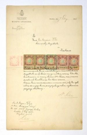 [LEOJuliusz]. Podpis prezydenta miasta Krakowa Juliusza Leo pod dokumentem urzędowym, dat....