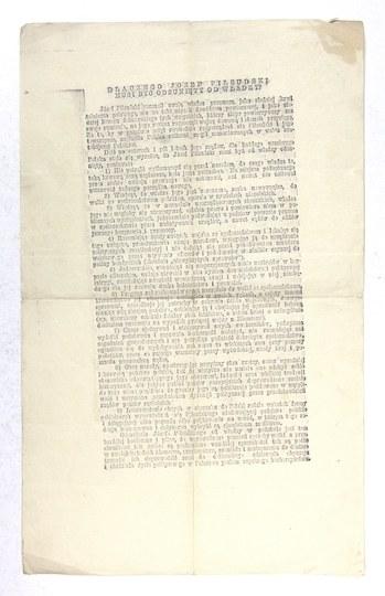 [PIŁSUDSKI Józef]. Odbitka szczotkowa artykułu prasowego Dlaczego Józef Piłsudski musi być odsunięty od władzy?...