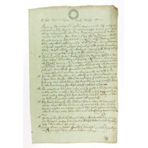 [TESTAMENT]. Odręcznie sporządzony testament Jana Zeleskiego (Żeleskiego?) z Chyrowa,...