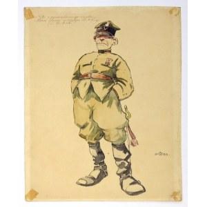 [UŁANI]. Pięć akwarelowych karykatur przedstawiających ułanów różnych pułków, rysowanych przez Stefana Stefanowskiego w ...