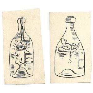 CZYSTA. Dwa rysunki tuszem na ark. 12,5x6,8 i 12,1x7 cm. Niesygnowane.