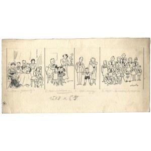 HISTORIA. Rysunek tuszem na ark. 14x27,8 cm.