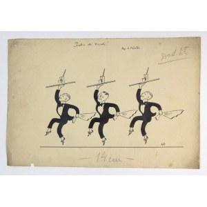 KELNERZY. Rysunek tuszem na ark. 20x30,1 cm. Sygnowany: KF i Rys. K. Förster.