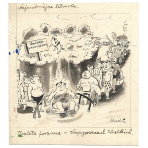 LETNISKO. Rysunek tuszem na ark. 16,3x15 cm. Sygnowany Charlie.
