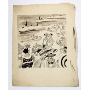 NA PLAŻY. Rysunek tuszem na ark. 28,8x23 cm. Sygnowany Charlie.