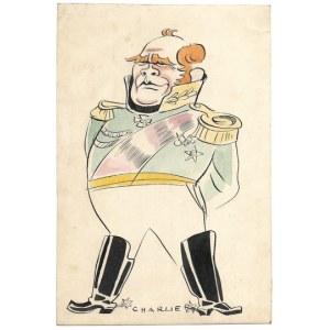 WAŻNY. Rysunek tuszem, kolorowany akwarelą, na ark. 25,5x16,6 cm. Sygnowany Charlie.