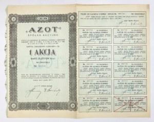 AZOT, Spółka Akcyjna [...]. 1 akcja wart. złotych 10.- na okaziciela [...]. II emisja złotowa.