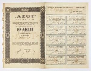 AZOT, Spółka Akcyjna [...]. 10 akcji po złotych 10.- na okaziciela [...]. I emisja złotowa.