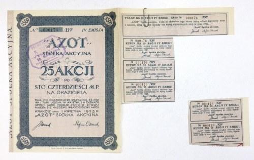 AZOT, Spółka Akcyjna. 25 akcji po sto czterdzieści m. p. na okaziciela [...]. IV emisja.