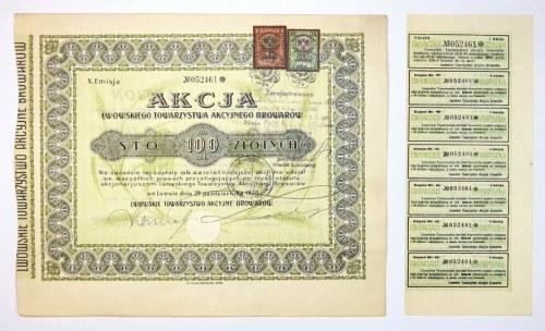 LWOWSKIETowarzystwo Akcyjne Browarów. Akcja ... na sto 100 złotych [...]. X. emisja.