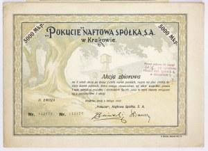 POKUCIE. Naftowa Spółka S. A. w Krakowie. Akcja zbiorowa na 5 sztuk akcyj po tysiąc (1000)...