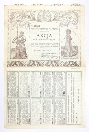 POLSKIPrzemysł Naftowy, Spółka Akcyjna. Akcja na trzydzieści (30) złotych [...].