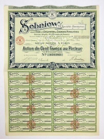 SOBNIOW,Société Anonyme, pour l'Ètude et l'Exploration de Gisements Pétrolifères. Action de cent francs au port...