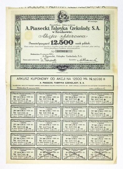 SPÓŁKAAkcyjna A. Piasecki, Fabryka Czekolady, S.A. w Krakowie. Akcja zbiorowa na 12....
