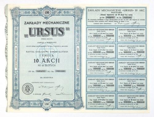 ZAKŁADYMechaniczne Ursus, Spółka Akcyjna, zarząd w Warszawie [...]. I emisja 10 akcji po 15 złotych [......