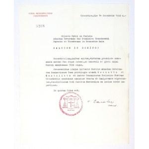 [WOJTYŁAKarol]. Podpis kard. Karola Wojtyły pod maszynopisowym listem urzędowym (po łacinie)...