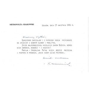[MACHARSKIFranciszek]. Odręczny podpis kardynała Franciszka Macharskiego na drukowanej karcie z życzeniami,...