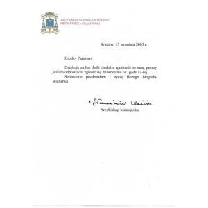 [DZIWISZStanisław]. Odręczny podpis arcybiskupa Stanisława Dziwisza pod krótkim listem, dat....
