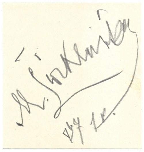 [ĆWIKLIŃSKAMieczysława]. Odręczny podpis aktorki na arkuszu kremowego papieru, dat....