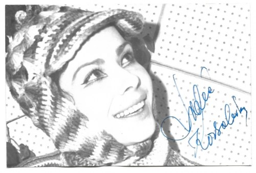 [KORSAKÓWNALidia]. Odręczny podpis aktorki na fotografii, dat. 27 XI 1969 w Oświęcimiu.