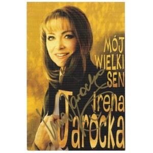 [JAROCKAIrena]. Odręczny podpis piosenkarki na ulotce reklamowej, nie przed 2001.