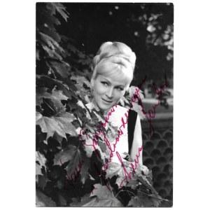 [SANTORIrena]. Zdjęcie piosenkarki z jej odręcznym podpisem, dat. 27 XI 1969 w Oświęcimiu.