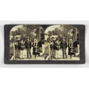 [GÓRY - dzieci w Zakopanem - fotografia sytuacyjna stereoskopowa]. [l. 20. XX w.]. Fotografia stereoskopowa form....