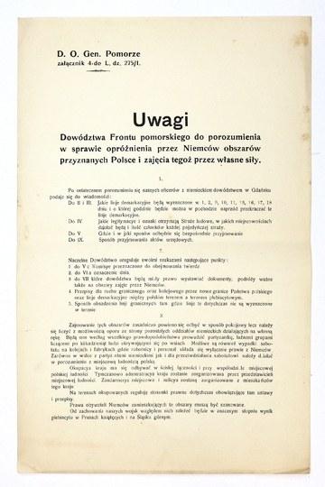 UWAGIDowództwa Frontu pomorskiego do porozumienia w sprawie opróżnienia przez Niemców obszarów przyznanych Polsce i zaj...
