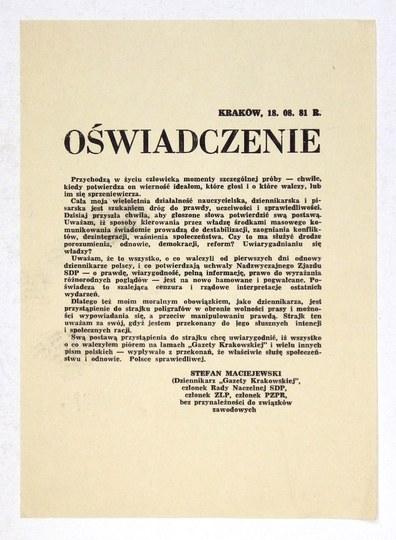 Strajk w obronie wolności prasy. VIII 1981.