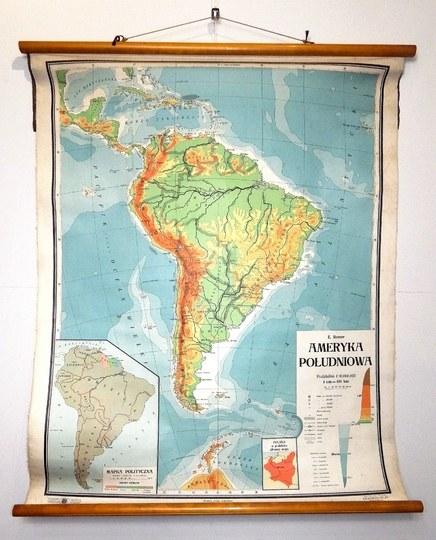 AMERYKAPołudniowa. Mapa barwna form. 114x88,5 cm.