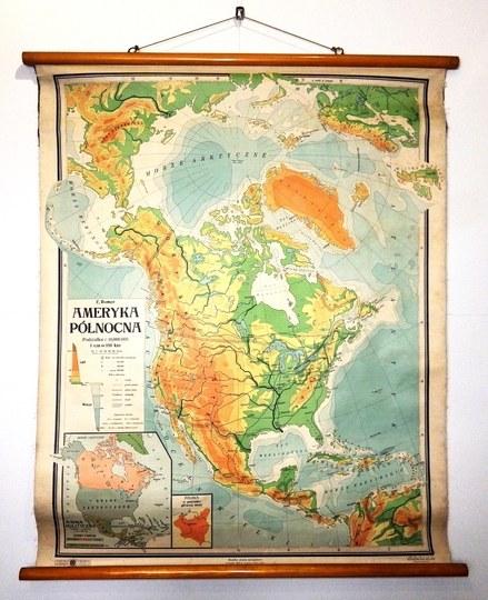 AMERYKAPółnocna. Mapa barwna form. 113,5x87,5 cm.
