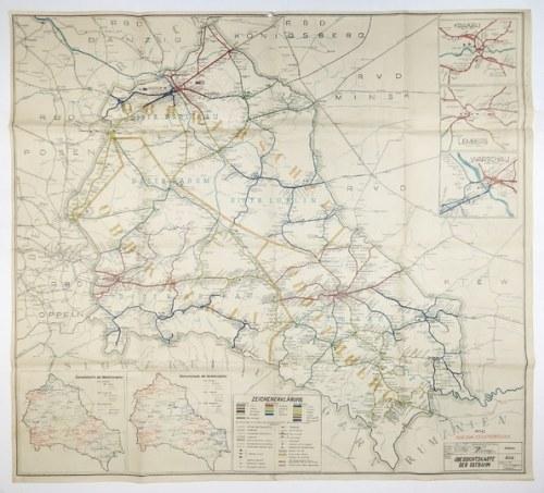 [POLSKA].Übersichtskarte der Ostbahn. 1943.