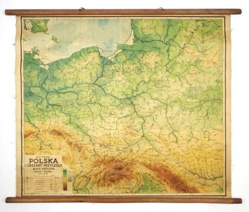Mapa ścienna Polski z 1948, sprzed korekty granic w Bieszczadach.