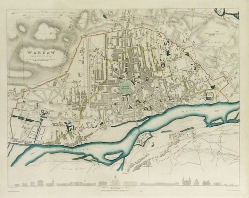 [WARSZAWA]. Warsaw (Warszawa). Miedzioryt kolorowany form. 29x37,7 na ark. 36,2x43,...