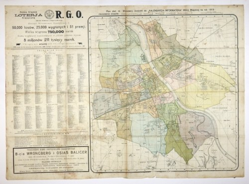 [WARSZAWA]. Plan stoł. m. Warszawy. Dodatek do Kalendarza-informatora Milicji Miejskiej na rok 1919. Plan w barwnej li...