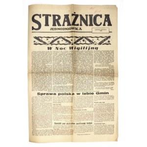 STRAŻNICA.Jednodniówka. Koniec grudnia 1944. [Częstochowa] 1944. folio, s. 6....