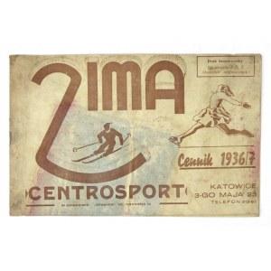 Cennik zimowego sprzętu sportowego na sezon 1936/1937.