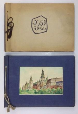 Albumy z pracami uczniów PLSP w Krakowie, wśród nich akwarela Ryszarda Horowitza. 1956